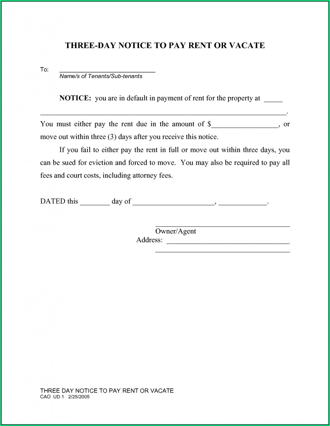 State Of Florida Eviction Notice Template