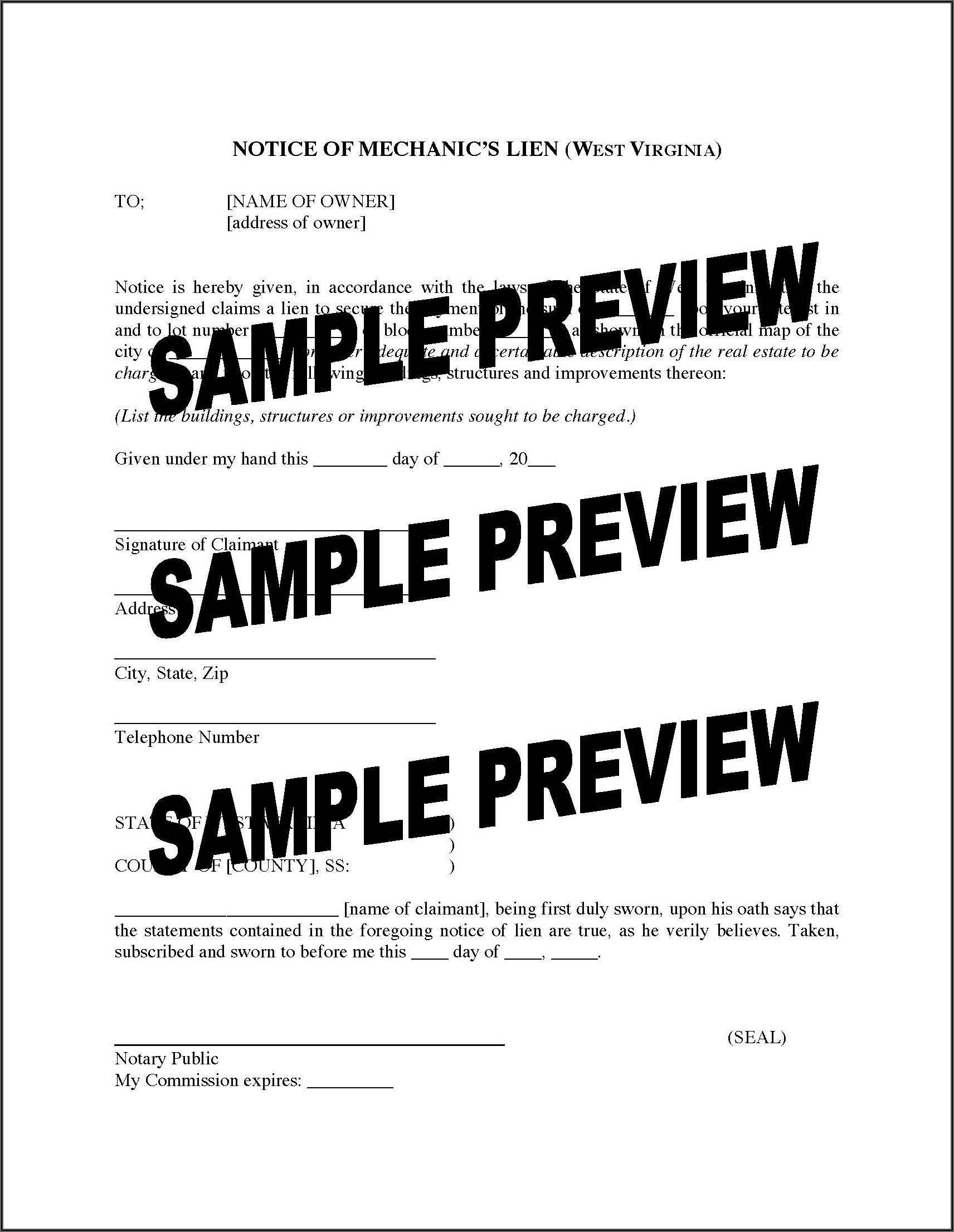 State Of Virginia Mechanic's Lien Form
