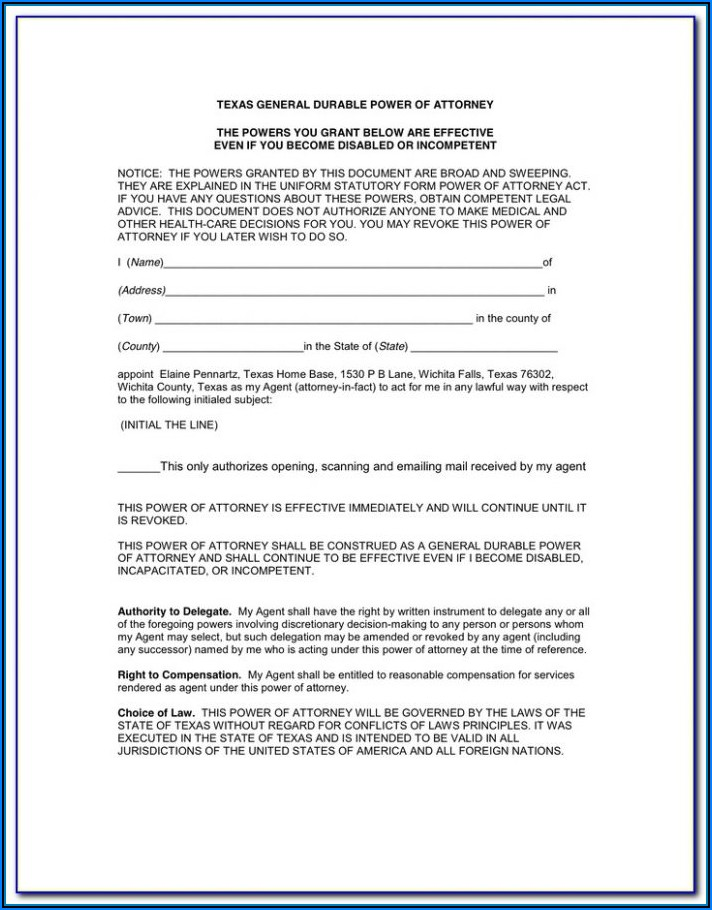 Statutory Durable Power Of Attorney Form Texas