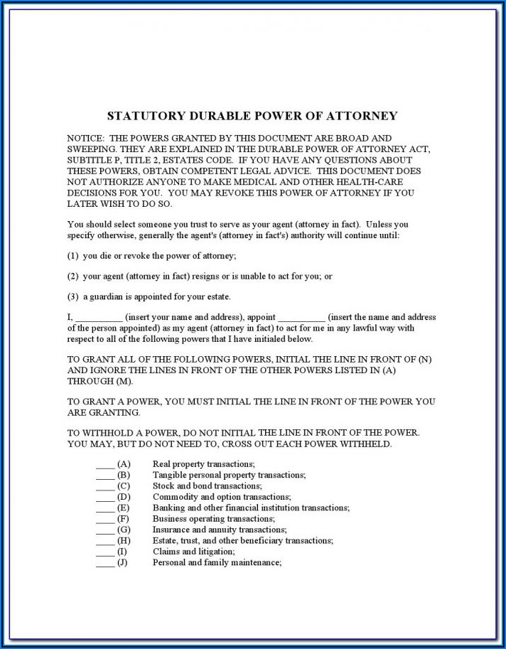 Statutory Durable Power Of Attorney Texas Form Free