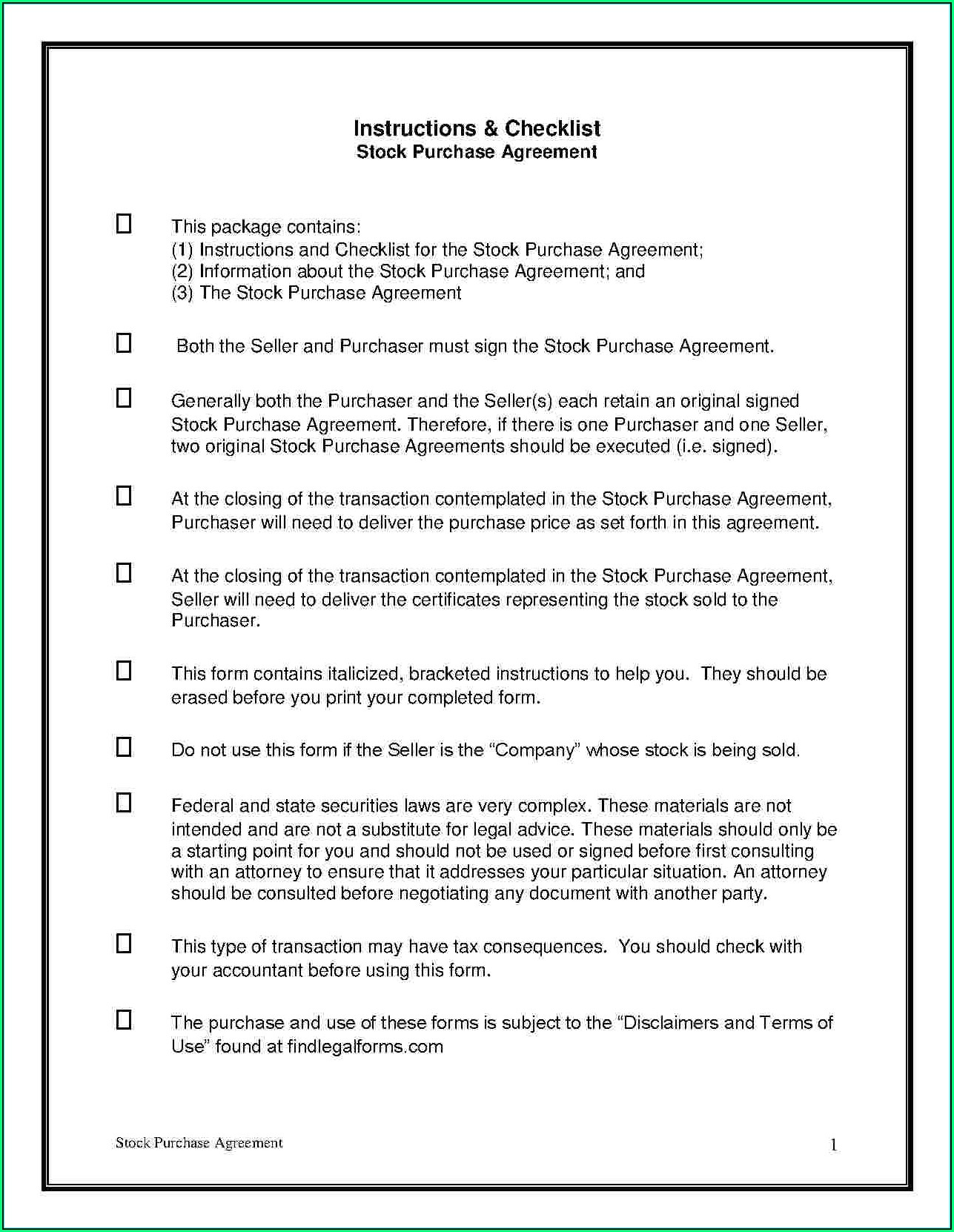 Stock Purchase Agreement Template Free