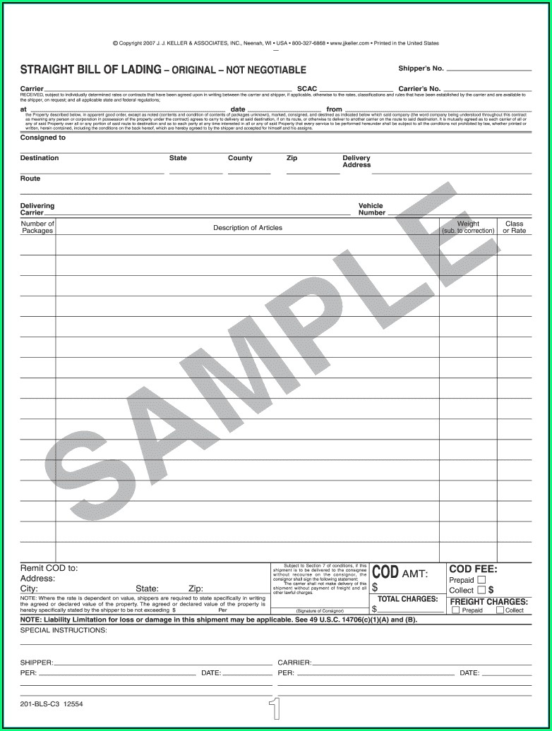 Straight Bill Of Lading Form Pdf