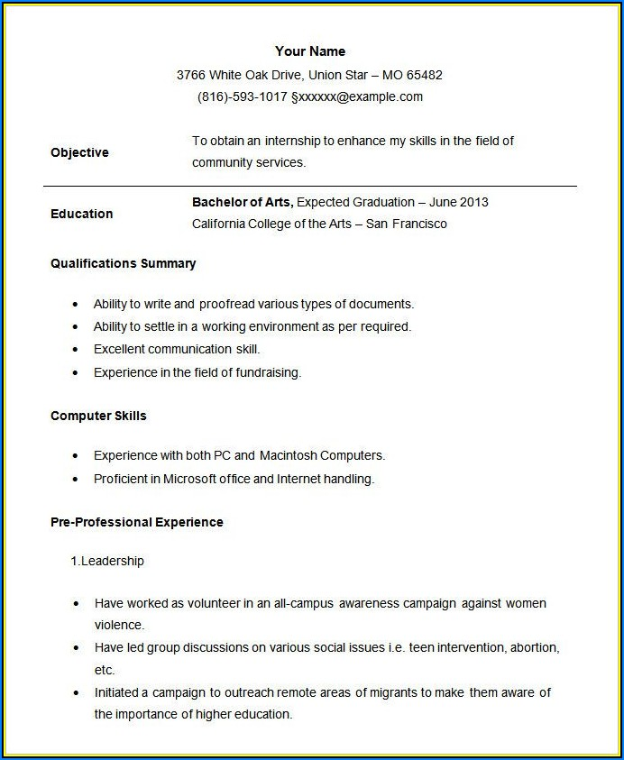 Student Resume Format Free