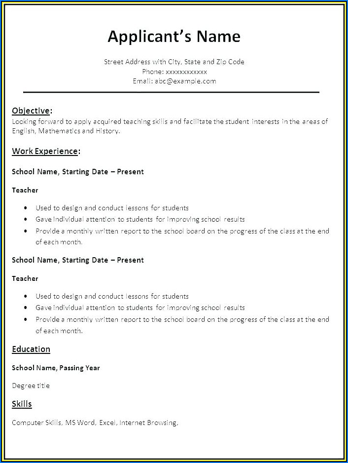 Student Resume Templates Word Free Download
