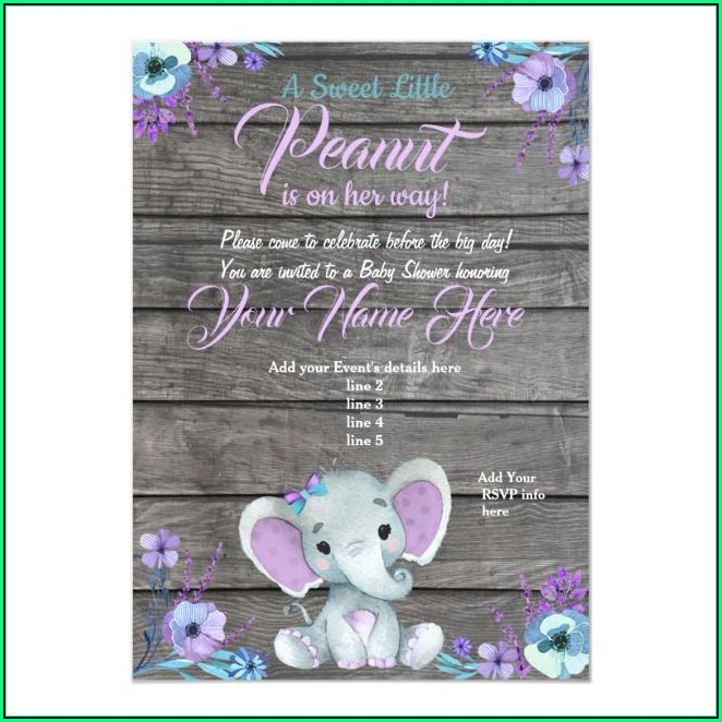 Teal Elephant Baby Shower Invitation Templates