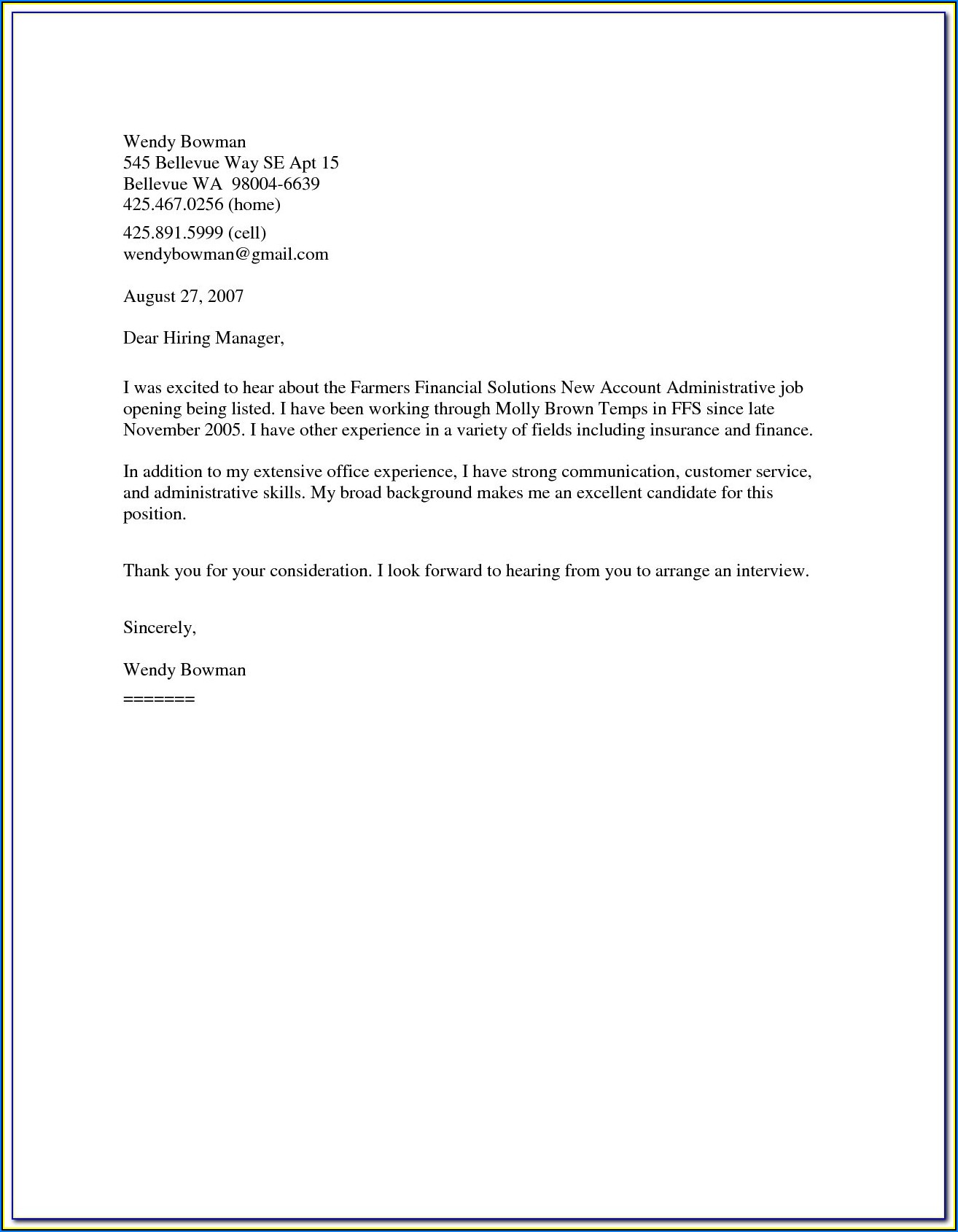 Template Cover Letter For Resume