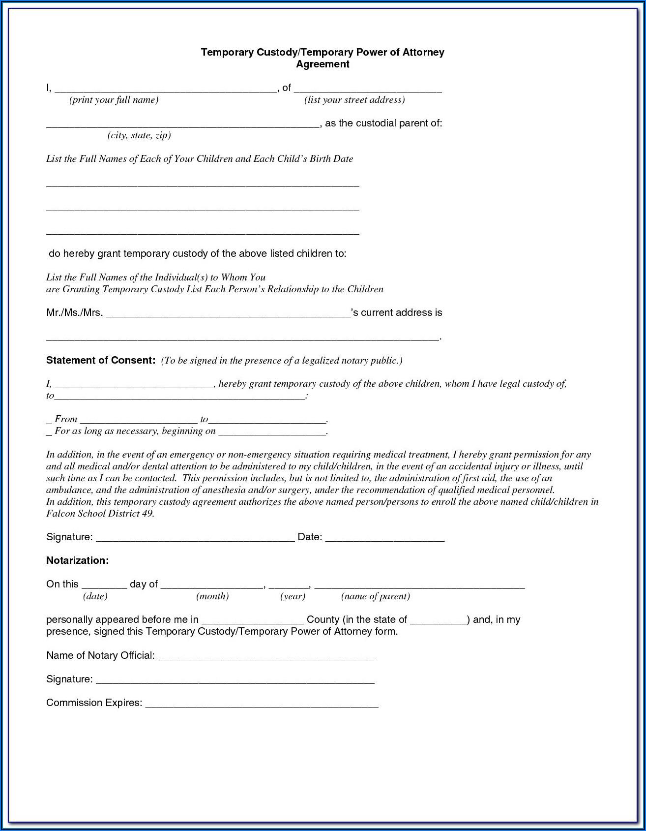 Temporary Custody Of Grandchildren Form