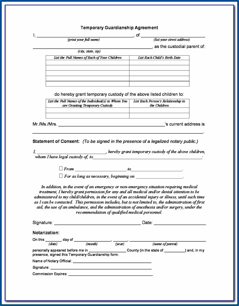 Temporary Guardianship Form Nebraska