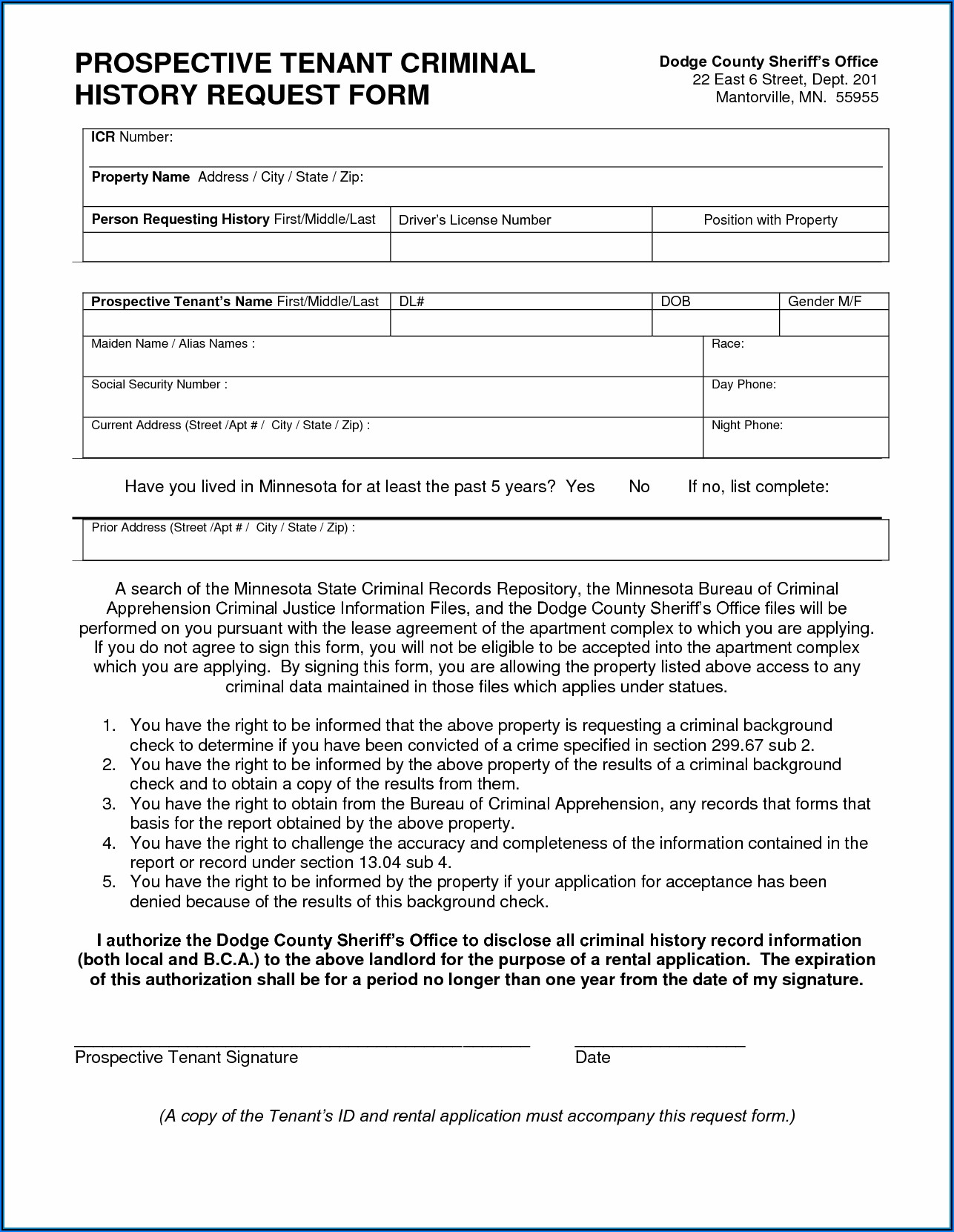 Tenant Background Check Consent Form Pdf
