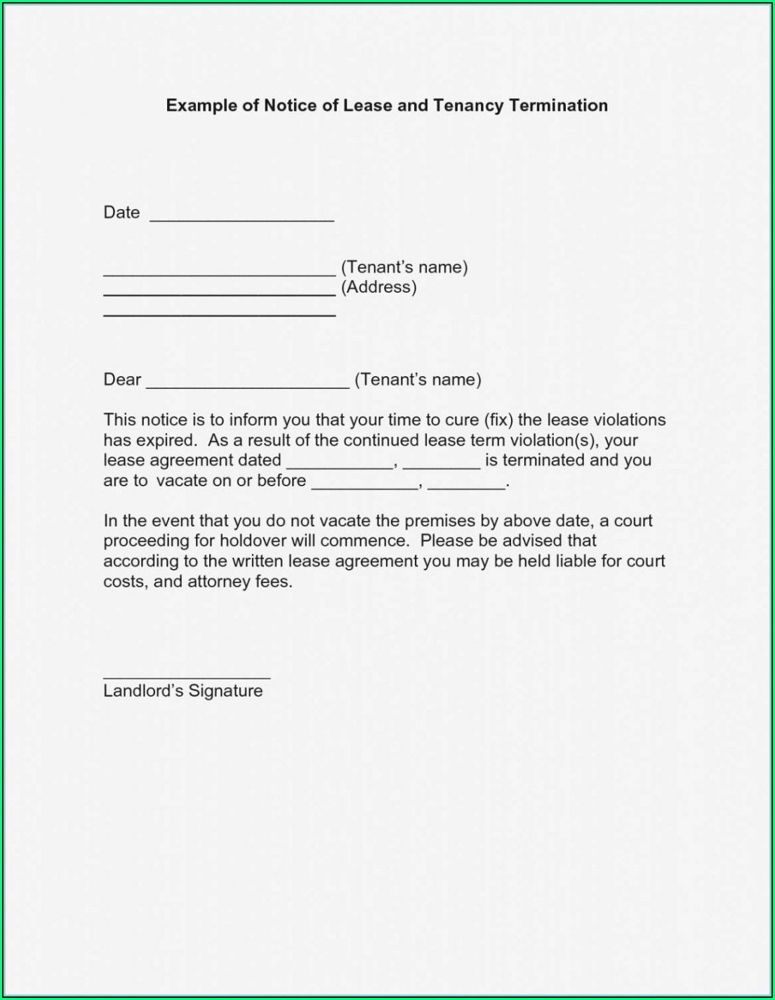 Termination Of Lease Agreement Template South Africa