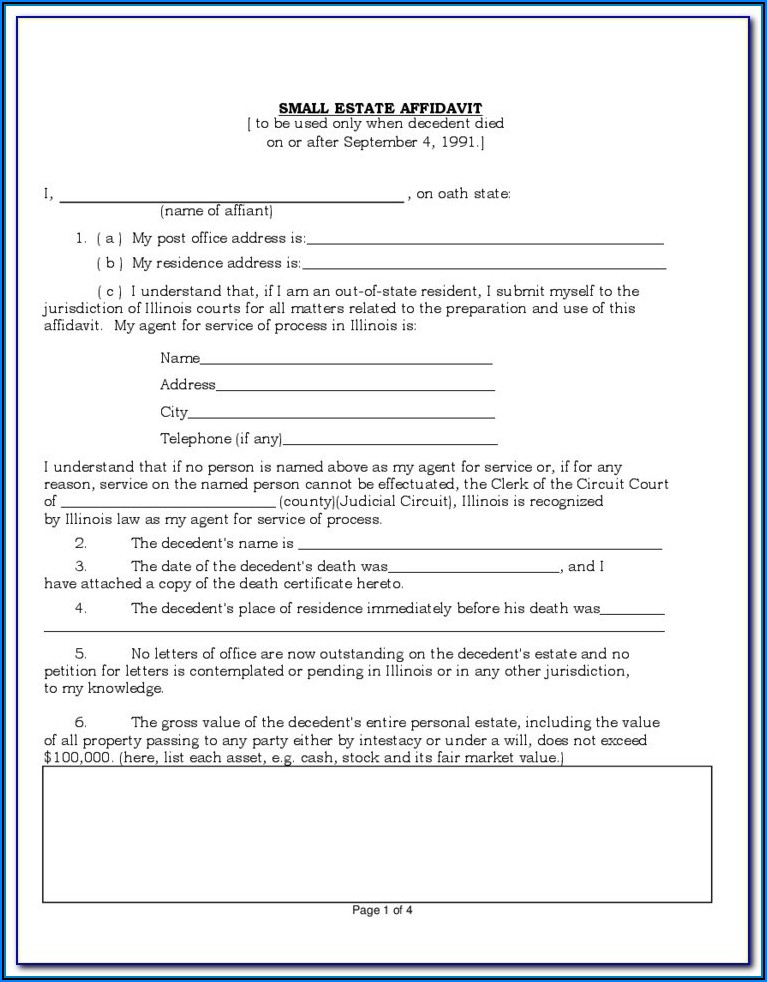 Texas Small Estate Affidavit Form Harris County