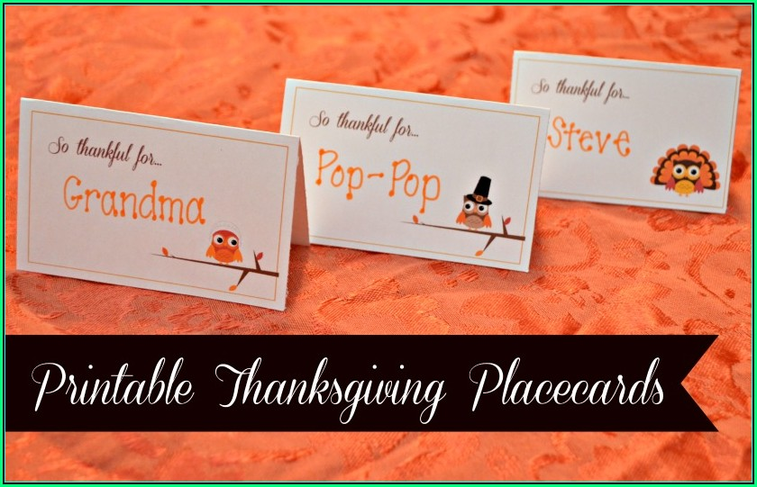 Thanksgiving Place Cards Template Word