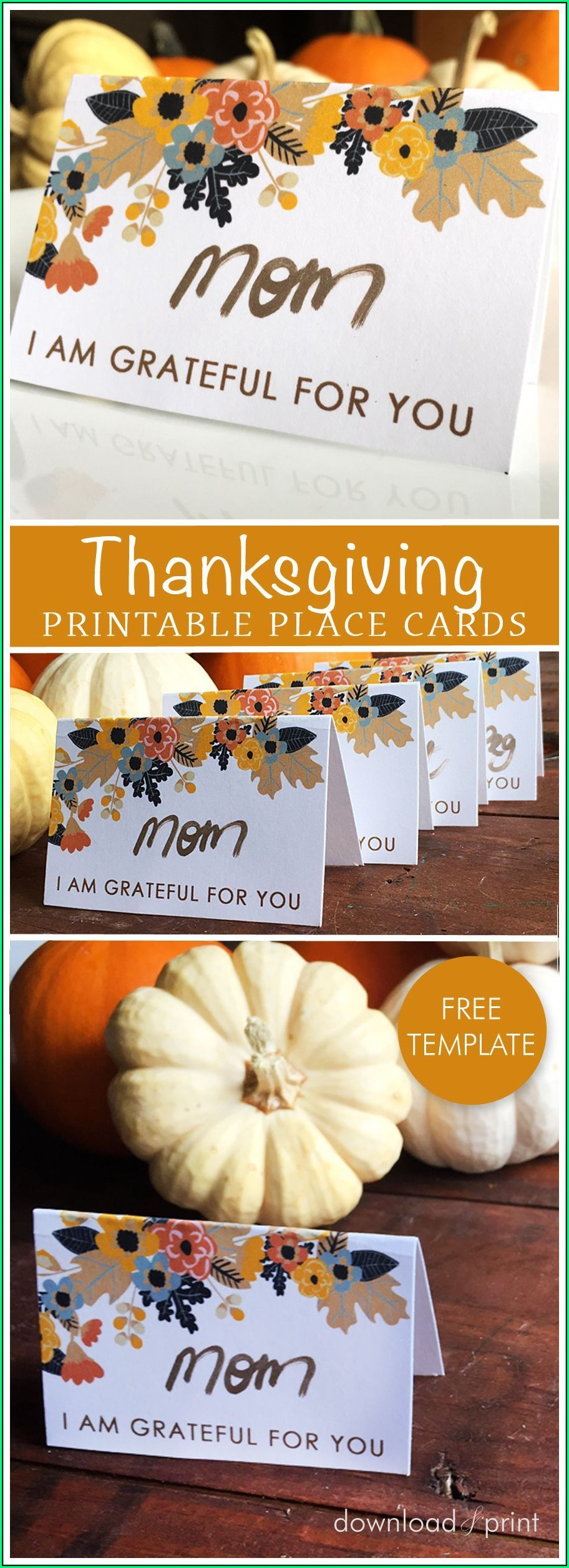 Thanksgiving Table Place Card Template