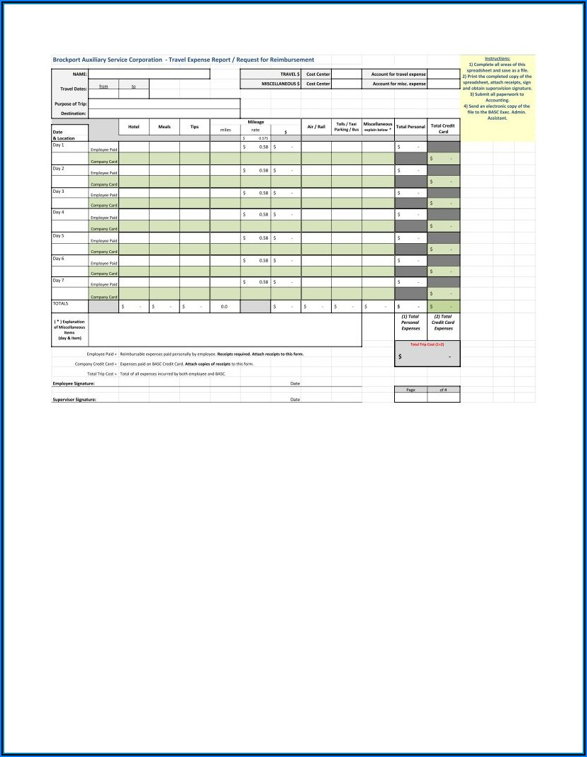 Travel Expense Format Excel