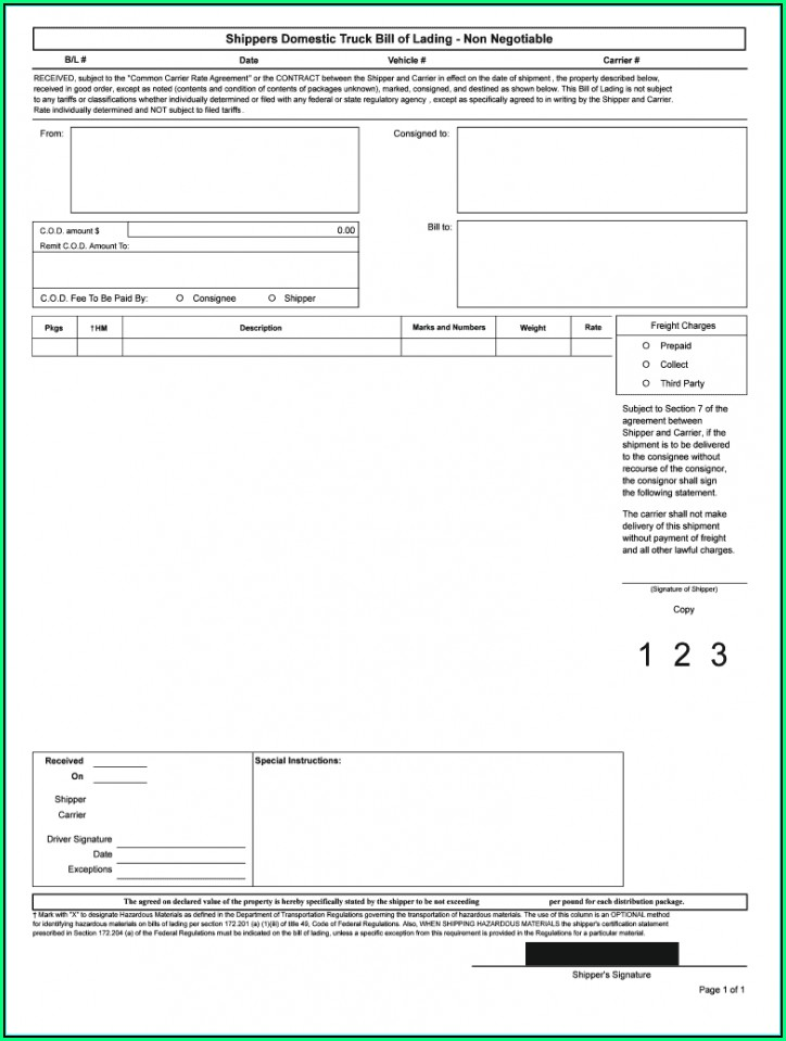 Uniform Straight Bill Of Lading Template
