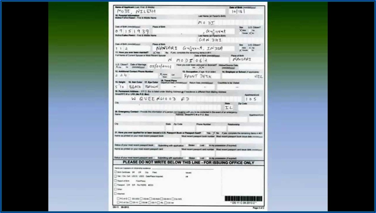 United States Passport Renewal Application Forms