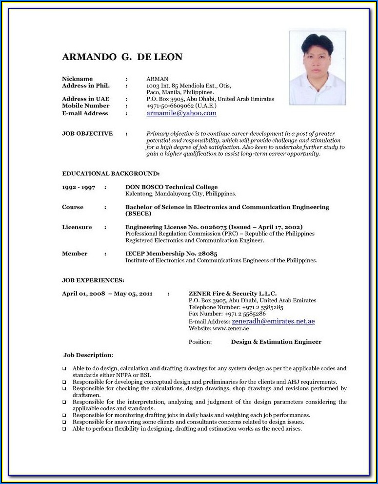 Update Resume Format