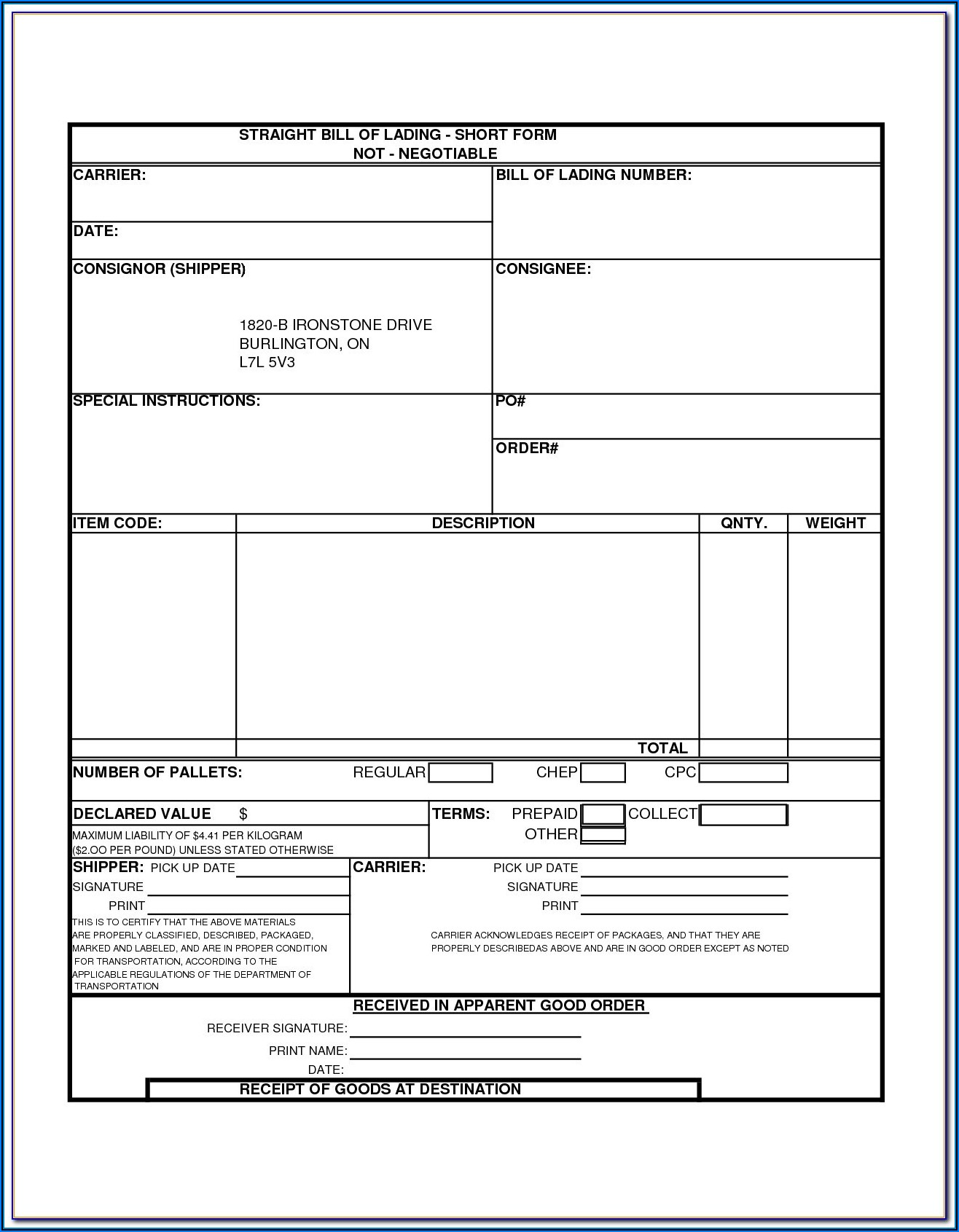 Ups Printable Bill Of Lading Form
