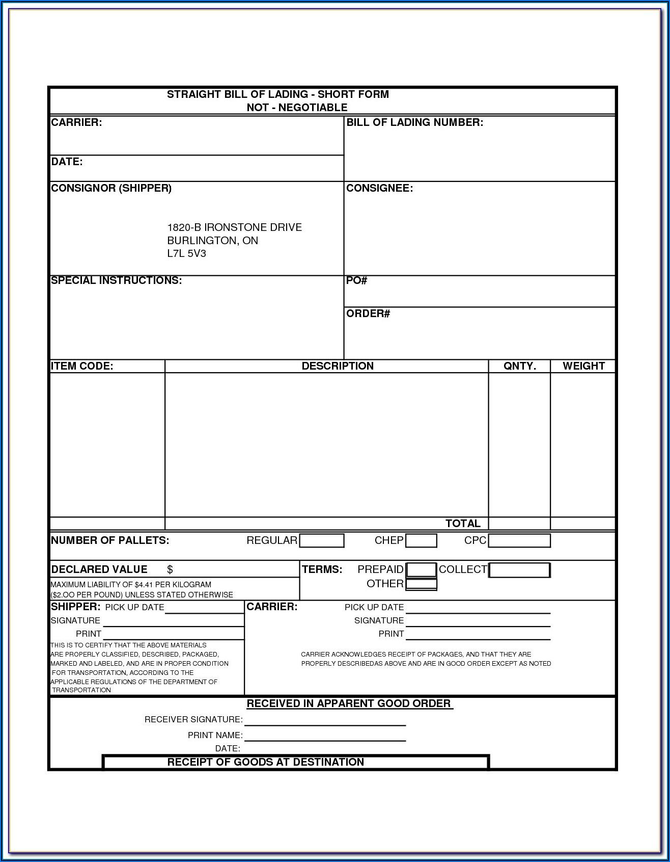 Ups Printable Bill Of Lading Form