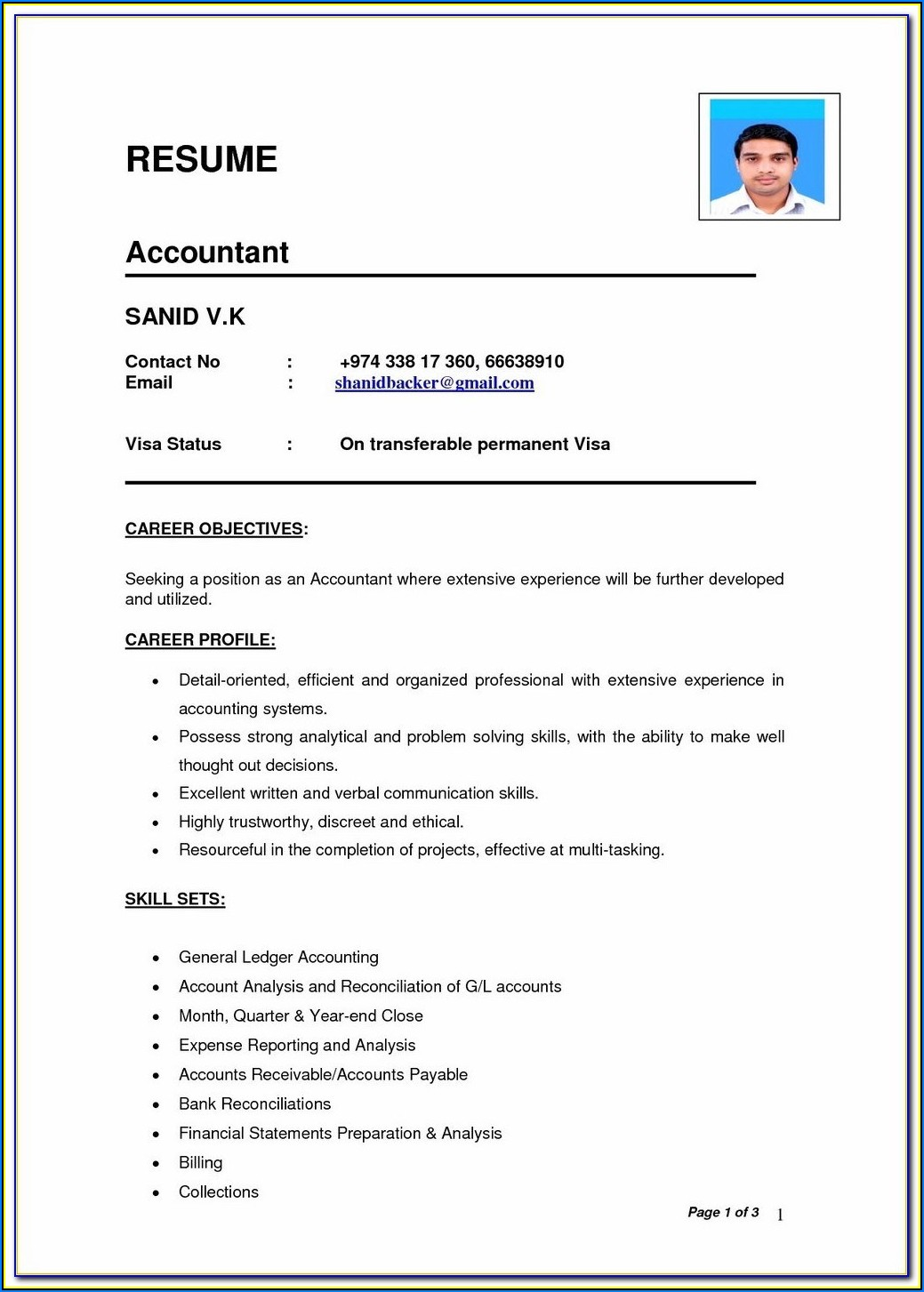 Very Simple Resume Format