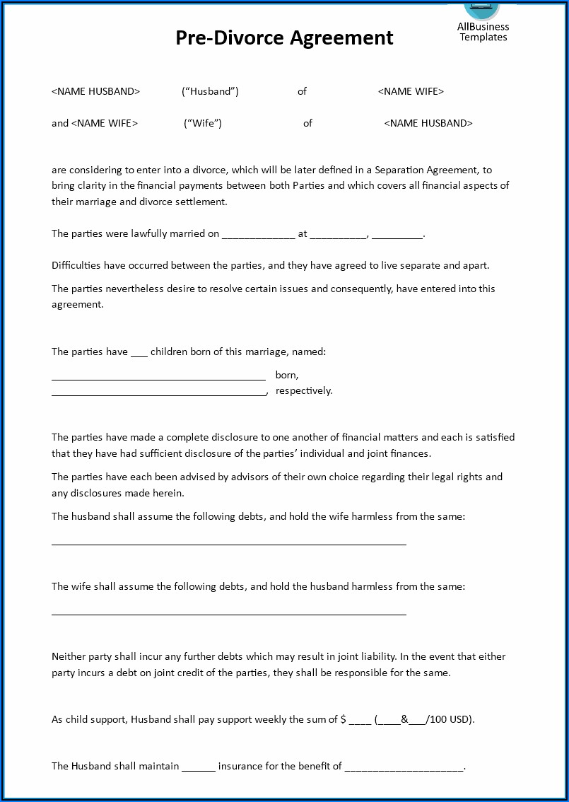 Virginia Legal Separation Agreement Form