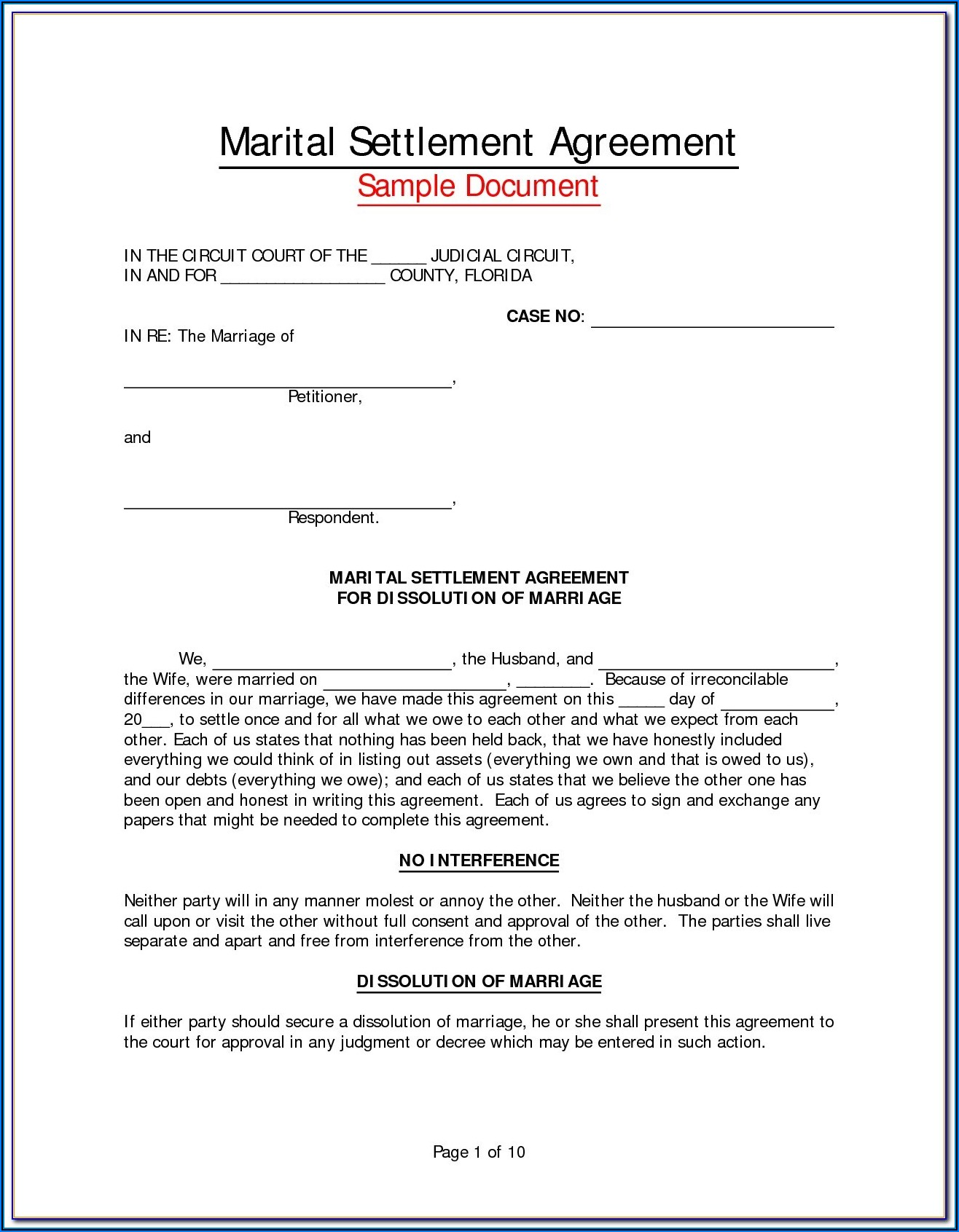 Virginia Marital Separation Agreement Example