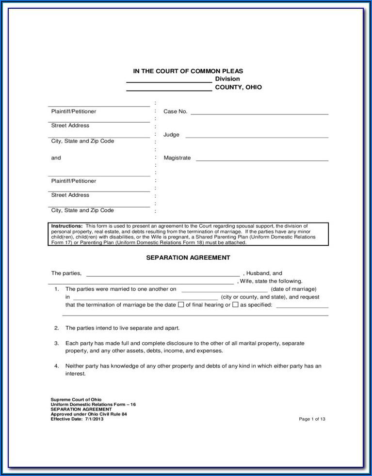 Virginia Marital Separation Agreement Form