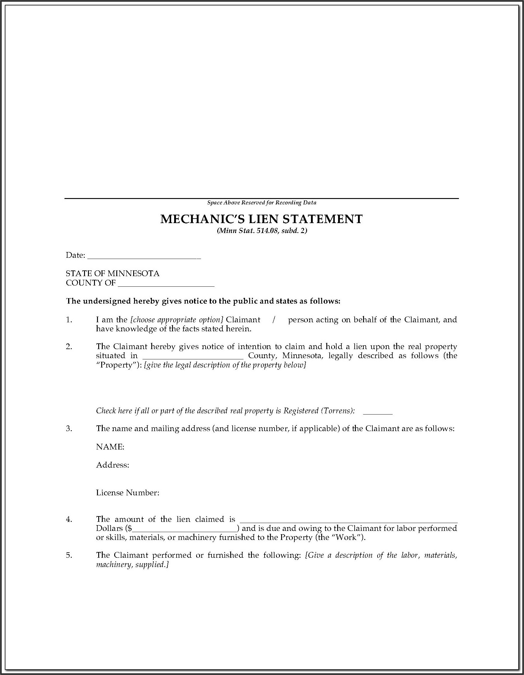 Virginia Mechanic's Lien Release Form