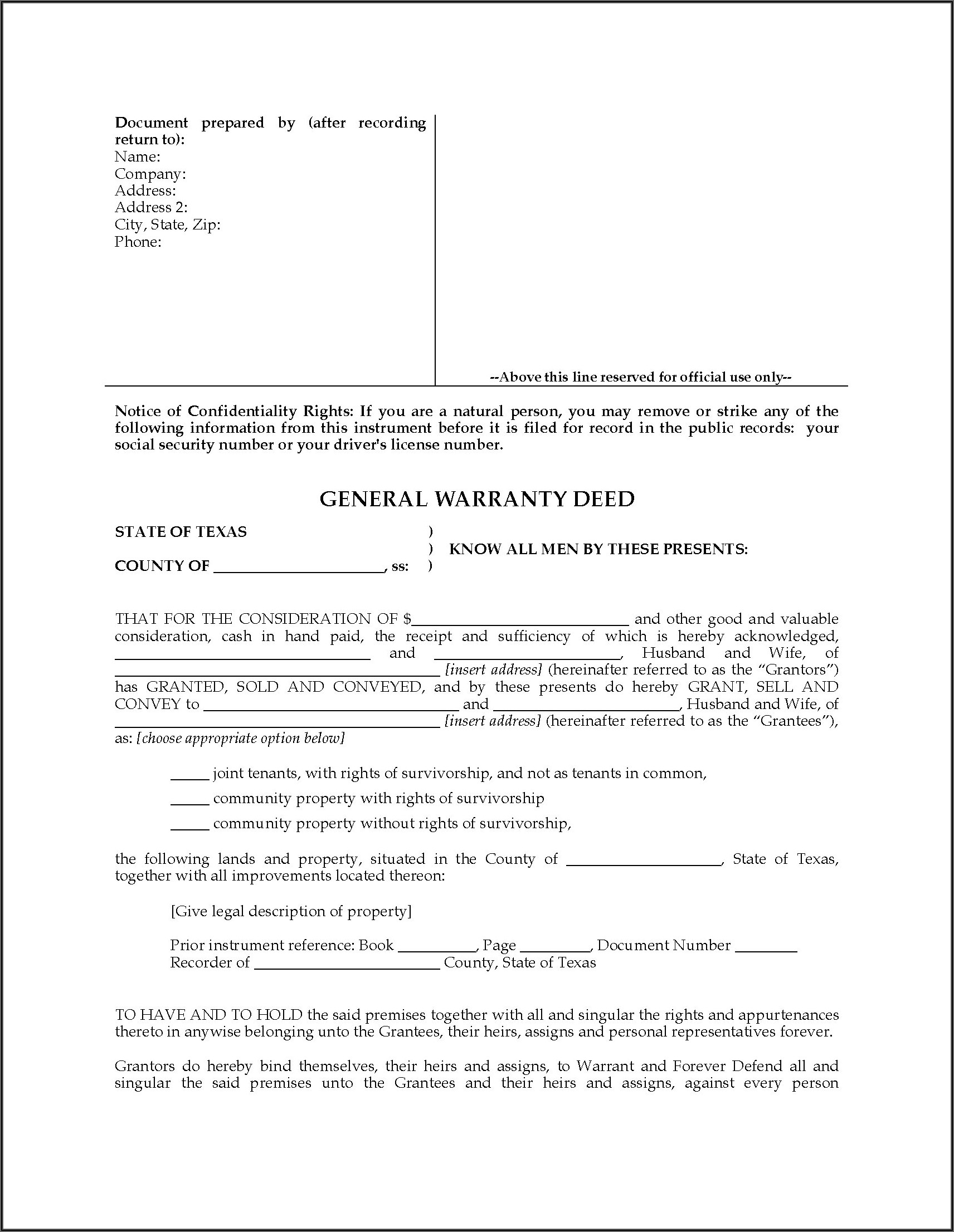 Warranty Deed Form Texas Real Estate