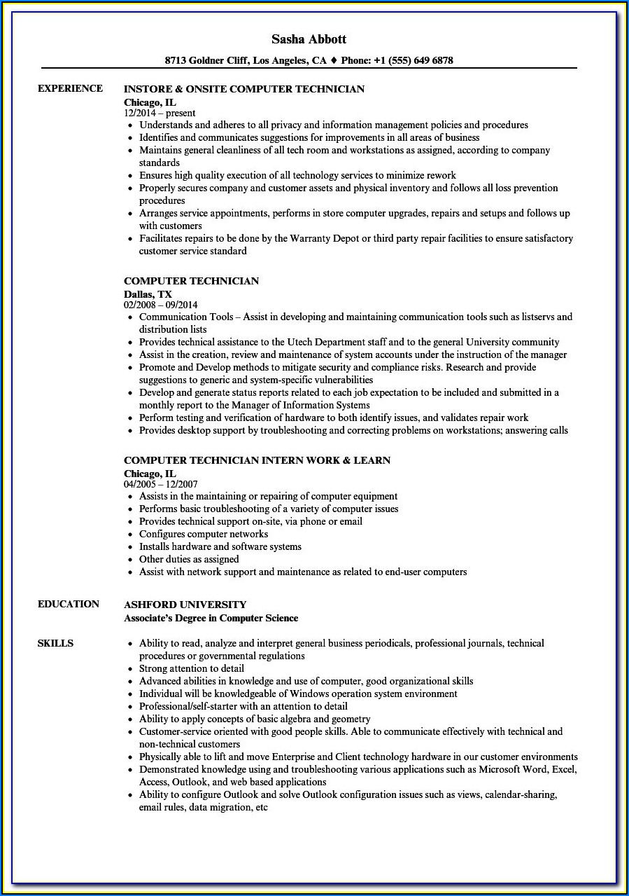 Water Damage Technician Resume Examples