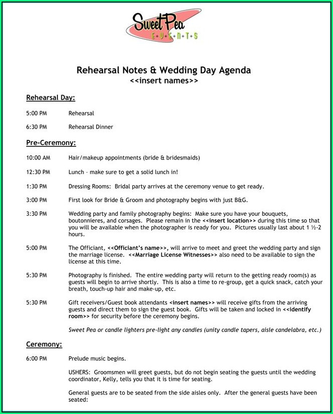 Wedding Agenda Example