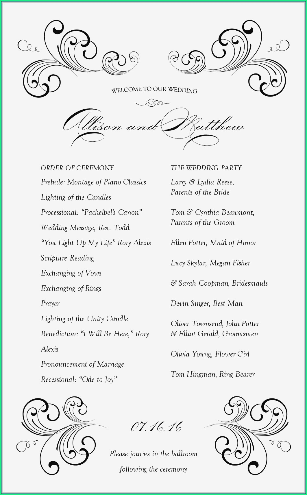 Wedding Ceremony Booklet Templates