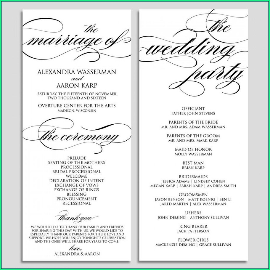Wedding Ceremony Program Samples