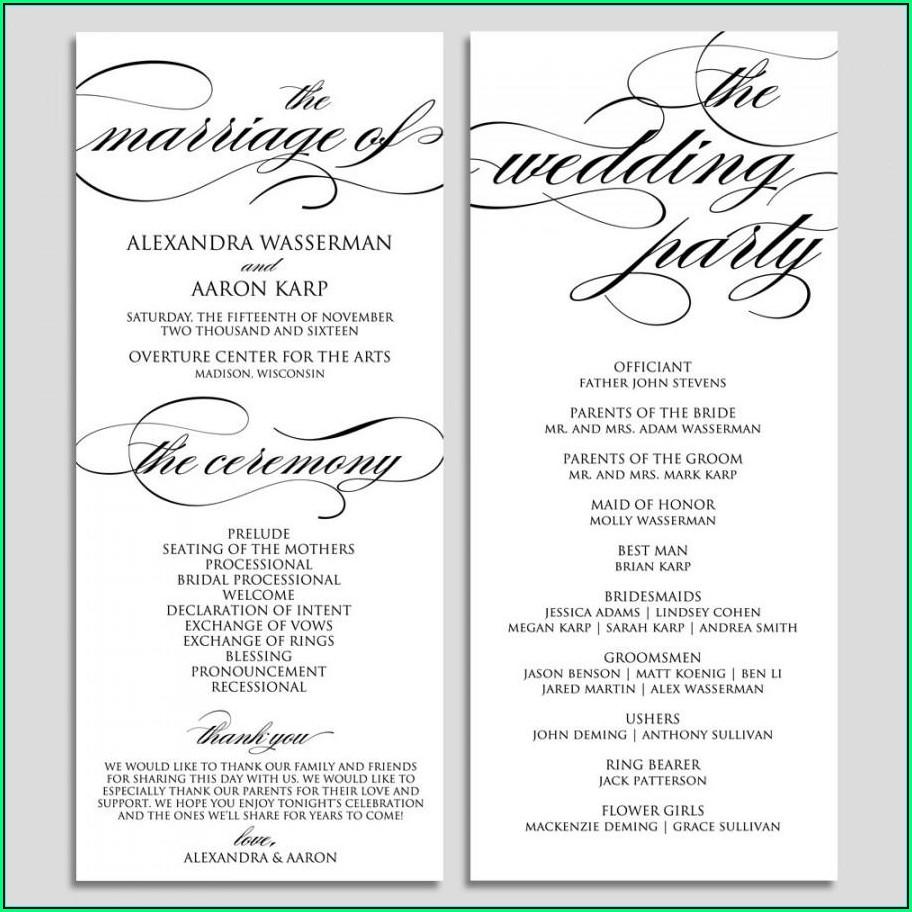 Wedding Ceremony Program Samples