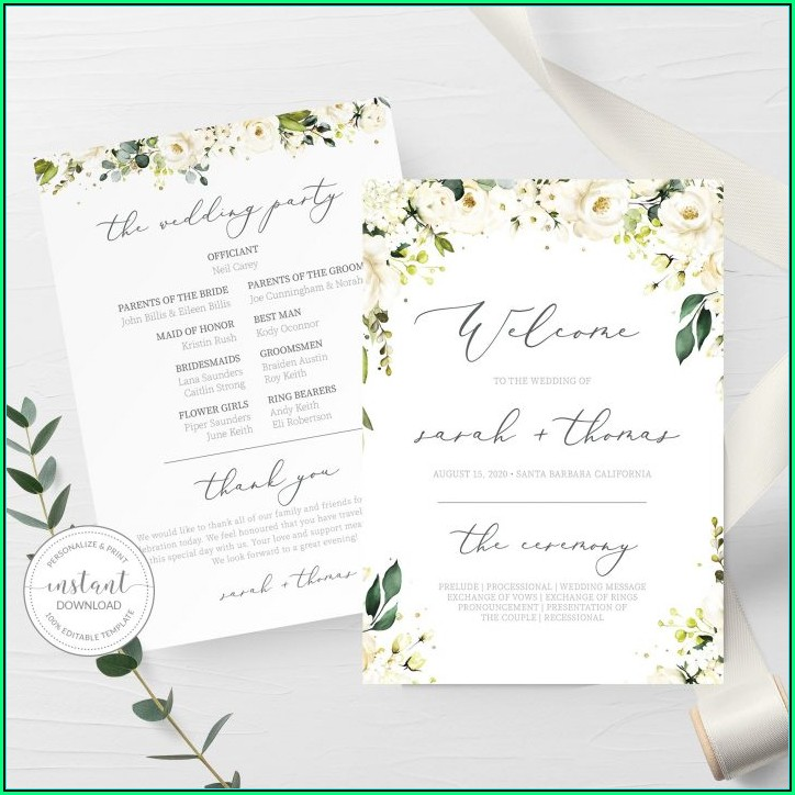 Wedding Ceremony Program Template Download