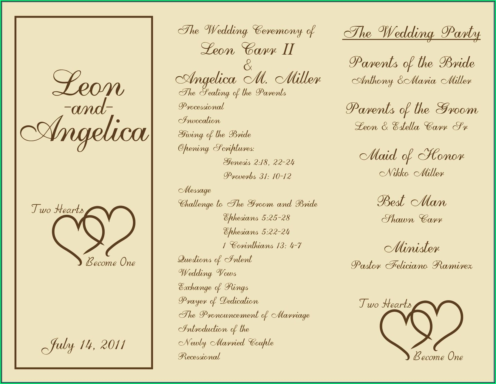 Wedding Ceremony Program Templates