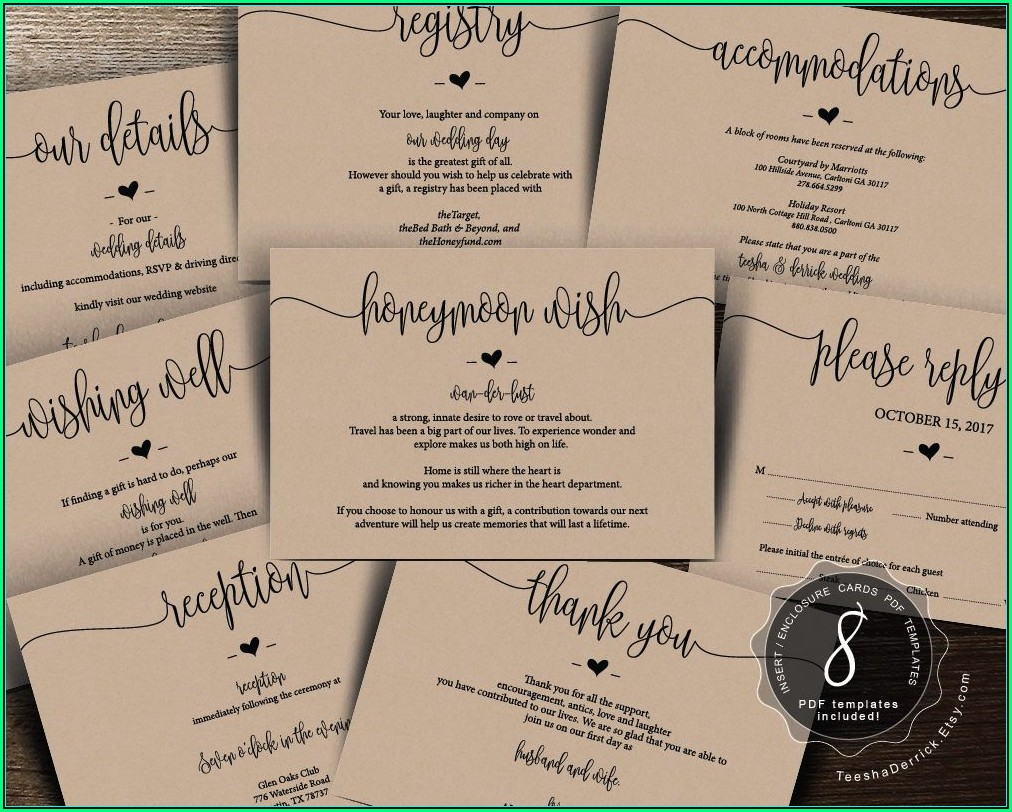 Wedding Invitation Registry Inserts Templates