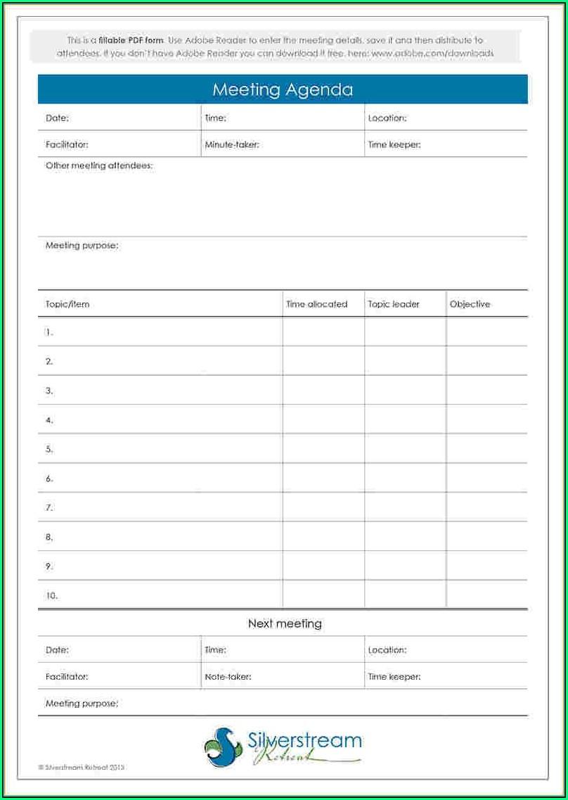 Wedding Meeting Agenda Template - Template 1 : Resume ...