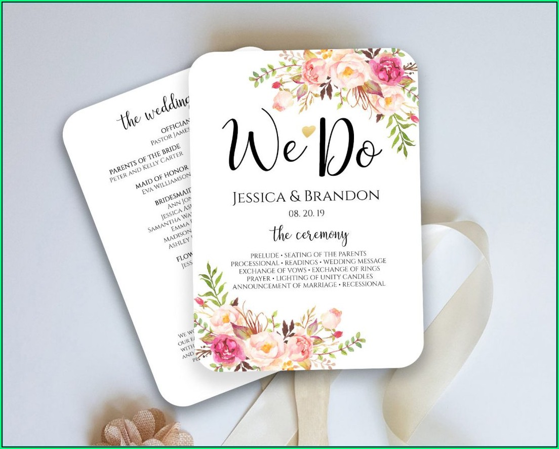 Wedding Program Fan Template Download