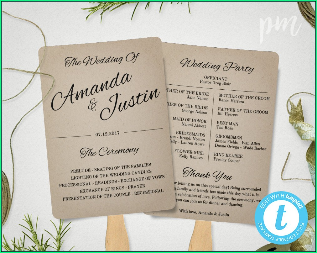 Wedding Program Fan Template Free Download