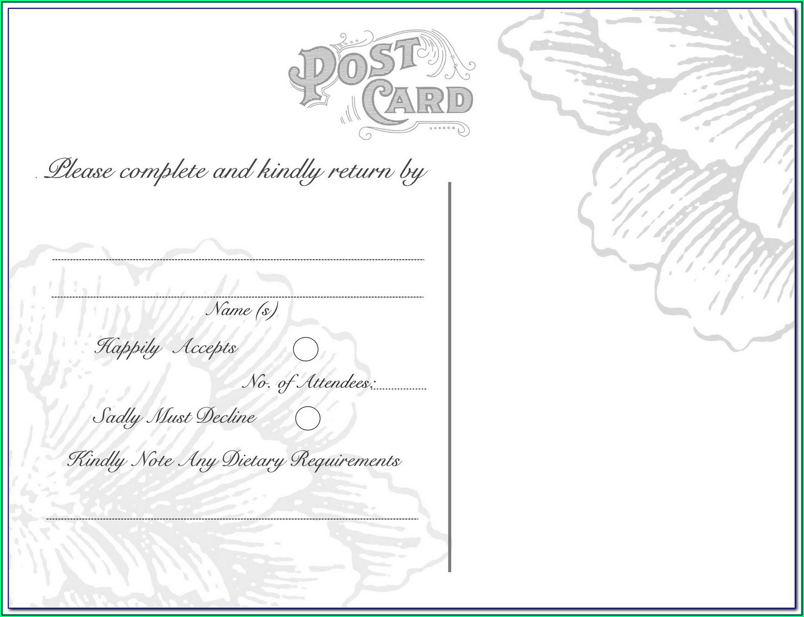 Wedding Rsvp Postcard Template Free