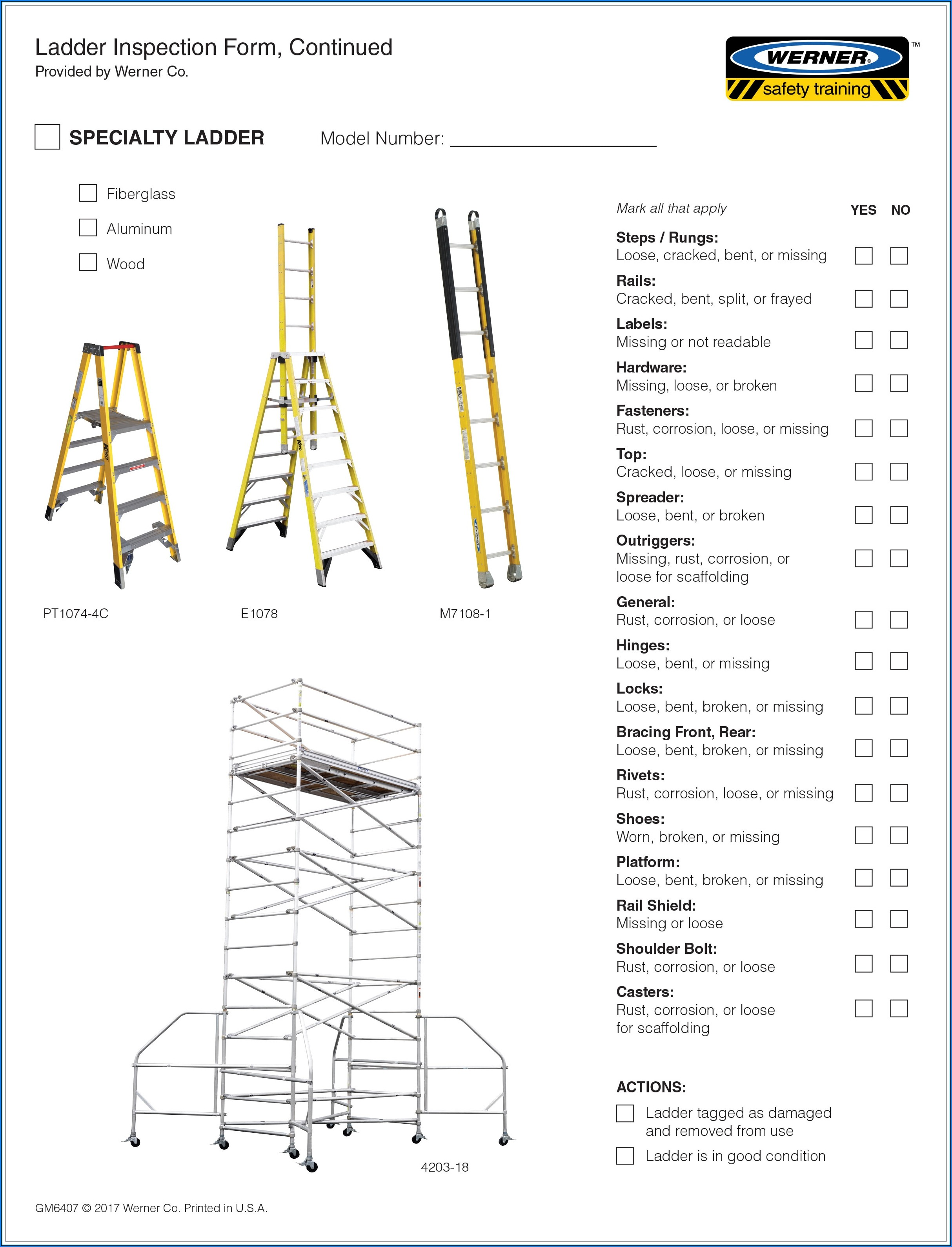 Werner Ladder Inspection Forms
