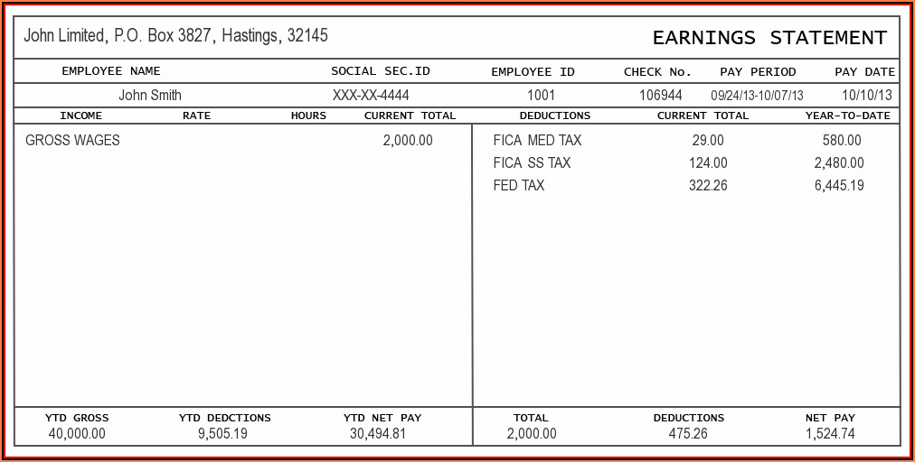 1099 Employee Pay Stub Template