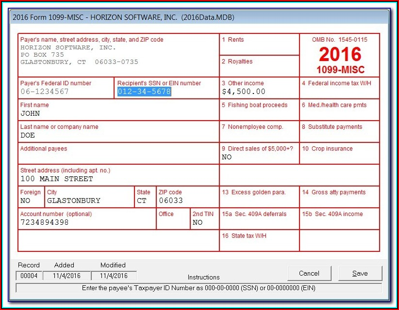 1099 Misc Tax Form Instructions