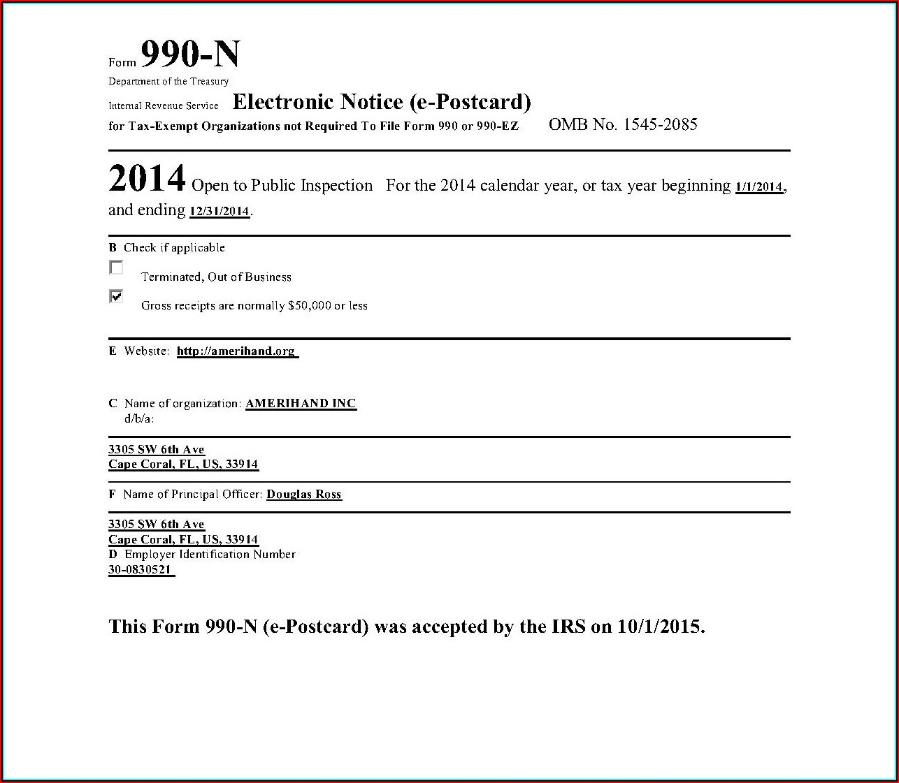2013 Irs Form 990 N (e Postcard)