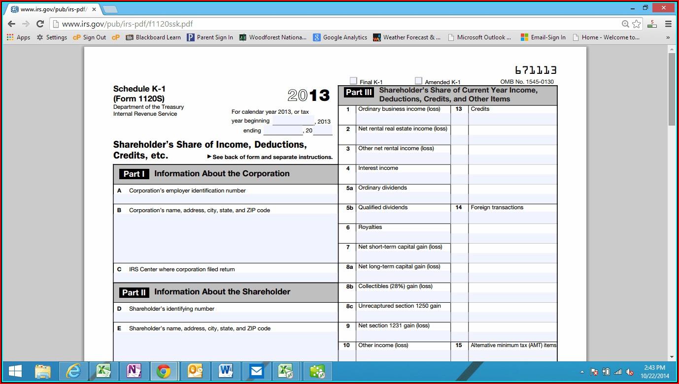 2014 Form 1120s K 1