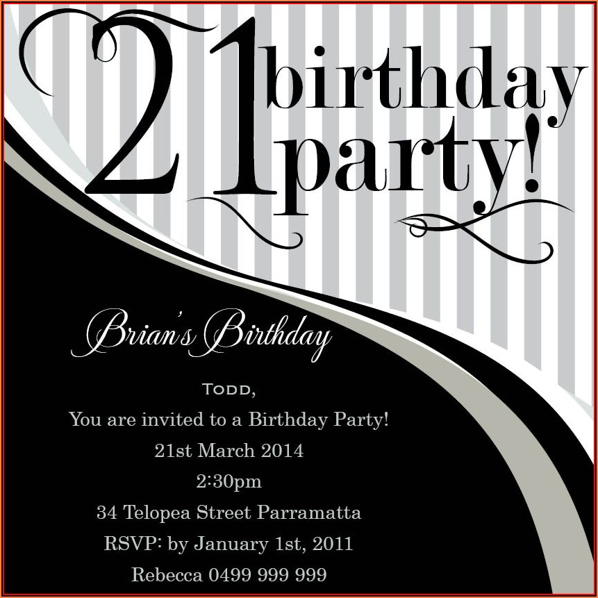 21st Birthday Invitation Templates For Guys