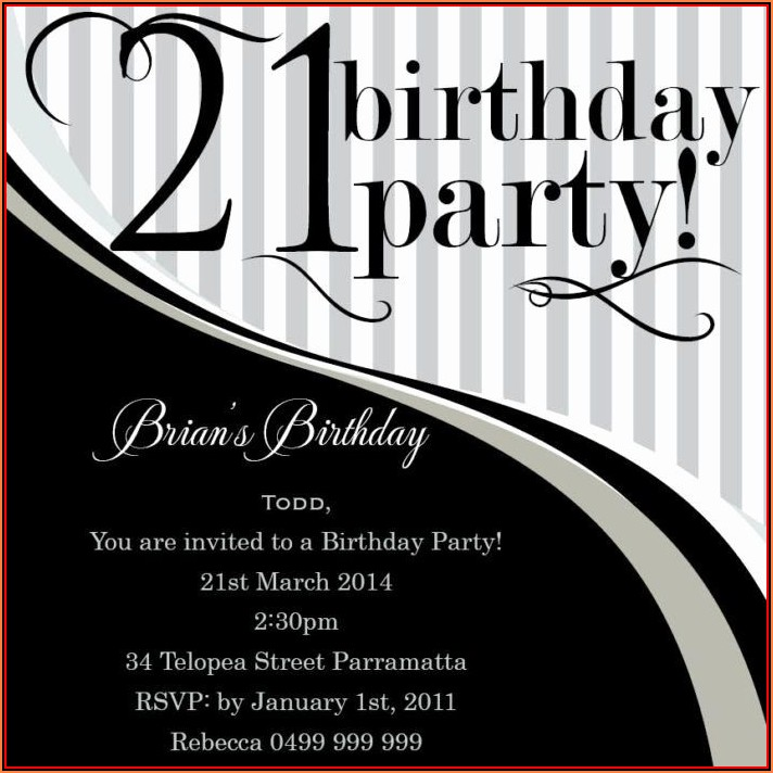 21st Birthday Invitation Templates Male