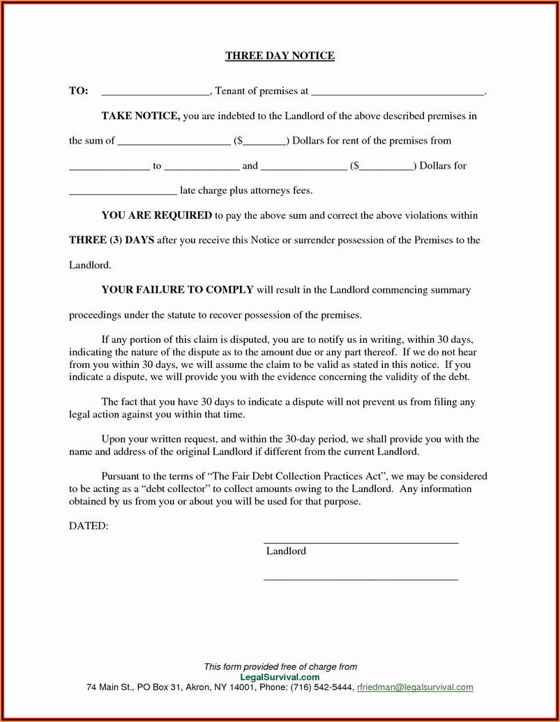 30 Day Notice Of Eviction Template