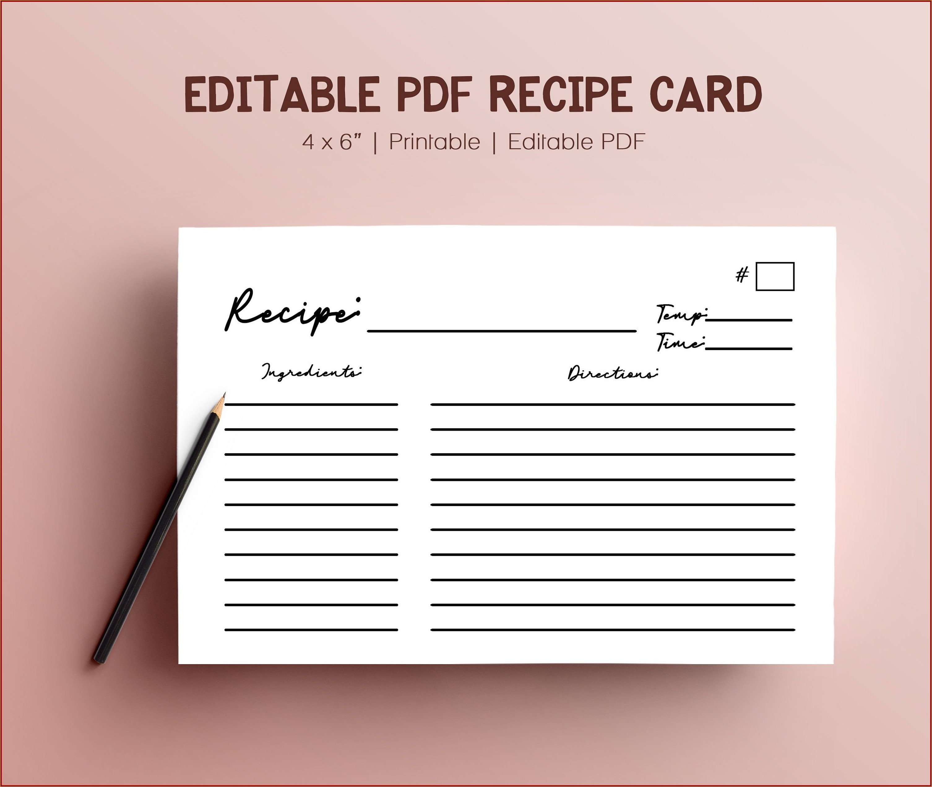 4 X 6 Recipe Card Template Microsoft Word